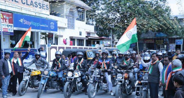 शहीदो को नमन कार्यक्रम की जागरूकता को निकली बाइक से निकला सन्देश अपने शहीदो का मेमन जरूरी …टीटू त्यागी