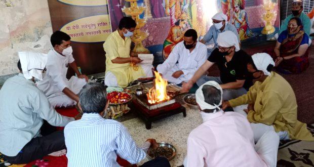 नर्वदेश्वर महादेव मन्दिर का स्थापना दिवस सादगी से सम्पन्न