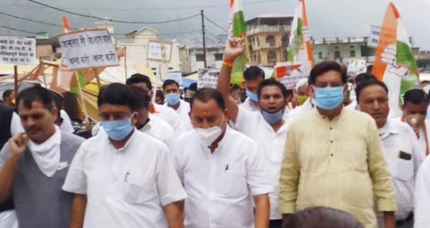 प्रदेश भर में कांग्रेसजनों ने किए  पेट्रोल-डीज़ल की बढ़ती कीमतों के व भाजपा के खिलाफ प्रदर्शन