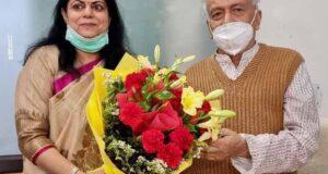 गोआ ओर महाराष्ट्र के राज्यपाल बीएस कोश्यारी से सीएम की धर्मपत्नी रश्मि त्यागी ने की मुलाकात
